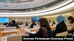 Wakil ketua Komnas Perempuan, Yuniyanti Chuzaifah Kajian Universal Periodik di Dewan HAM PBB di Jenewa hari Rabu (3/5).
