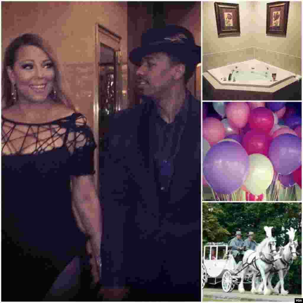 Nick Cannon presenteou sua esposa Mariah Carrey com uma noite romântica tradicional, cheia de balões, uma carruagem, um banho de jacuzzi, além de muito amor.
