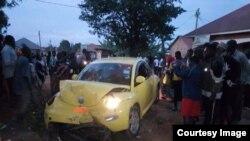 Gari ya Ibrahim Abiriga iliyoshambuliwa kwa risasi nchini Uganda