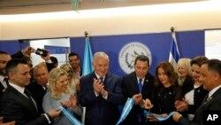 İsrail Başbakanı Benyamin Netenyahu ve Guatemala Başkan'ı Jimy Morales, Kudüs'te Guatemala Büyükelçiliği'nin açılışında