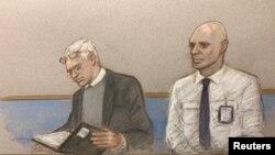 Зображення Джуліана Ассанжа (ліворуч) на малюнку із зали суду у Лондоні 24 лютого 2020 р.
