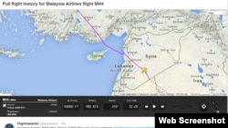 Layanan pelacak penerbangan Swedia Flightradar24 AB memperlihatkan peta penerbangan yang menunjukkan perubahan rute Malaysian Airlines penerbangan MH4, yang terbang dari Kuala Lumpur ke London.