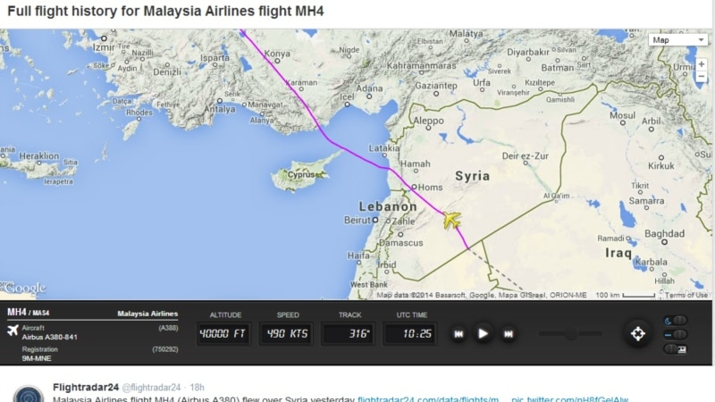 Malaysia Airlines Flight Over Syria Reflects War Zone Challenge