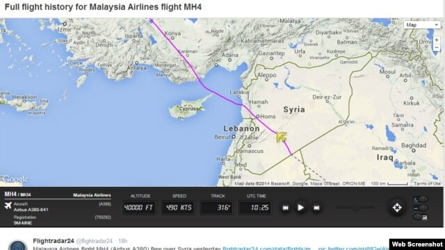 Swedish flight tracking service Flightradar24 AB posted a flight map on its Twitter account on Monday showing the change in the route of Malaysian Airlines flight MH4, which flies from Kuala Lumpur to London.