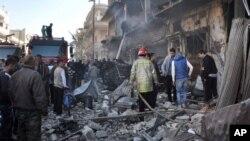 Une des zones de la ville syrienne d'Alep détruites.