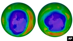 This combination of images made available by NASA shows areas of low ozone above Antarctica on Sept. 2000, left, and Sept. 2018. A United Nations report released on Nov. 5, 2018 says Earth's protective ozone layer is finally healing after aerosol sprays and coolants ate away at it.