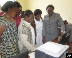 Nursing students learn about the importance of technology at a hospital in a rural part of Tanzania.