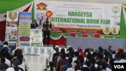 Somaliland foreign minister Sa'ad Ali Shire speaks at the opening of the Somaliland book festival.