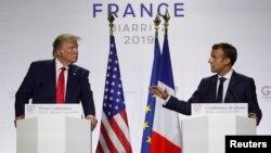 Президент США Дональд Трамп и президент Франции Эммануэль Макрон. Биарриц, Франция. 26 августа 2019 г.