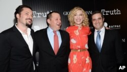 Režiser filma James Vanderbilt (s lijeva), producent William Sherak, glumica Cate Blanchett i producent Bradley J. Fishcer