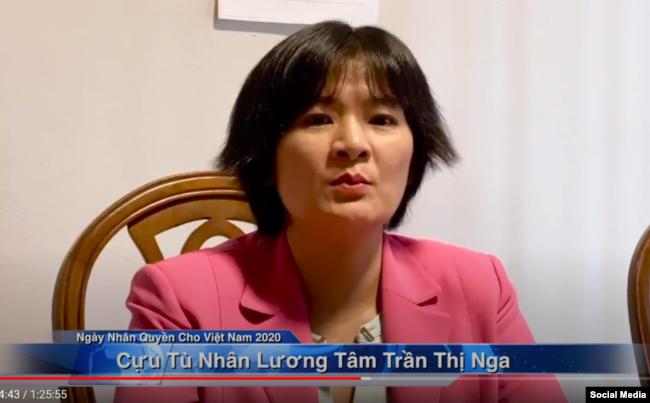 Cựu TNLT Trần Thị Nga phát biểu hôm 11/05/2020 trong sự kiện Ngày Nhân quyền cho Việt Nam. Photo Vietnam Human Rights Day via YouTube.