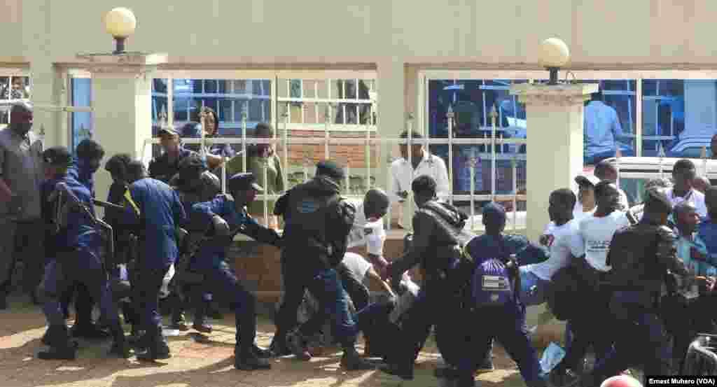 La police arrête des militants des mouvements citoyens qui manifestent devant le siège de l'Assemblée provinciale à Bukavu, dans le Sud-Kivu, RDC, 23 février 2016. VOA/Ernest Muhero
