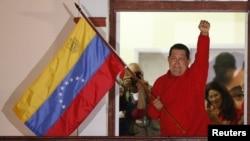 Predsednik Venecuele Ugo Čavez proslavlja pobedu na izborima