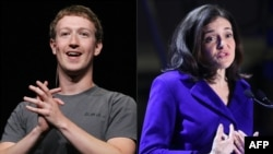 """FILE - A photo combo created on March 30, 2018 shows( L )Facebook CEO Mark Zuckerberg delivering a keynote address in San Francisco, Calif.,and (R) Facebook's Chief Operating Officer Sheryl Sandberg inaugurating the interactive Facebook exhibition """"Connexions"""" in Paris, France on Jan. 22, 2018."""