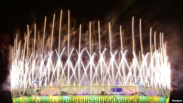 Fireworks explode over the Olympic Stadium during the closing ceremony of the London 2012 Olympic Games August 12, 2012.