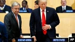 Predsednik SAD Donald Tramp i generalni sekretar Ujedinjenih nacija Antonio Gutereš na skupu o reformi UN (18. septembar 2017 )