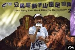 香港公民黨主席余若薇表示,區議會選舉一向是建制派比較佔優勢。(美國之音湯惠芸)