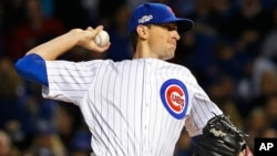 Chicago Cubs starting pitcher Kyle Hendricks (28) throws the ball during the first inning of Game 6 of the Major League Baseball championship series against the Los Angeles Dodgers, at Wrigley Field Stadium, Chicago, Illinois, Oct. 22, 2016.