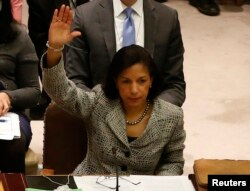 U.S. Ambassador to the United Nations Susan Rice votes to tighten sanctions on North Korea at the United Nations Headquarters in New York, March 7, 2013.