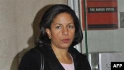 Постоянный представитель США при ООН Сюзан Райс прибыла на чрезвычайное заседание Совбеза ООН по Корее. 19 декабря 2010 года