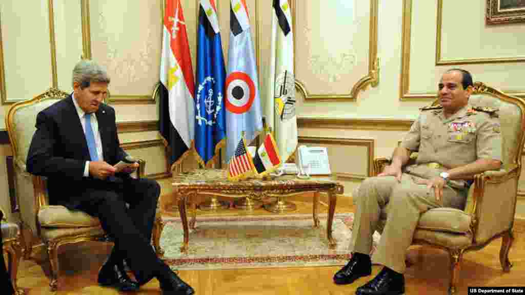 U.S. Secretary of State John Kerry reviews his notes before a meeting with Egyptian Minister of Defense General Abdul Fatah Khalil al-Sisi in Cairo, Egypt, on November 3, 2013.