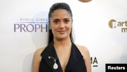 """Salma Hayek poses during the Los Angeles screening of """"Khalil Gibran's The Prophet"""" at the Los Angeles County Museum of Art's Bing Theater in Los Angeles, July 29, 2015."""