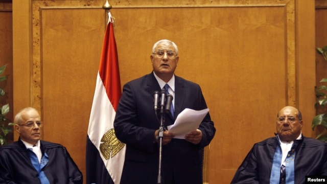 Adli Mansour (C), Egypt's chief justice and head of the Supreme Constitutional Court, speaks at his swearing in ceremony as the nation's interim president in Cairo, July 4, 2013, a day after the army ousted Mohamed Morsi as head of state.
