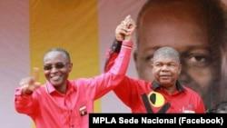 Bornito de Sousa (esq) com João Lourenço, candidatos à vice-presidência e presidência respectivamente pelo MPLA nas eleições de 23 Agosto em Angola