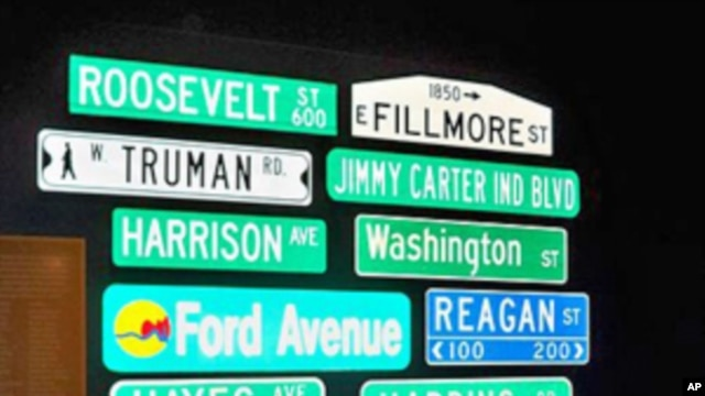 The Smithsonian Institution's Museum of American History has collected several street signs named for U.S. presidents, including lesser-known ones such as Rutherford B. Hayes.