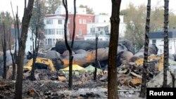 Lokasi bangkai kereta api yang meledak di Lac Megantic, Quebec, Kanada (16/7).