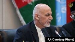 아슈라프 가니 아프가니스탄 대통령이 28일 '카불 프로세스' 개회식에서 연설하고 있다.