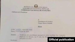 Carta da CNE a convocar candidatura de Umaro Sissoco Embaló