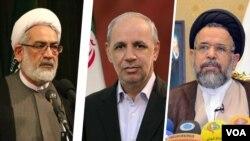 از راست: علوی وزیر اطلاعات، انصاری رئیس سازمان امور اداری و استخدامی و منتظری دادستان کل ایران