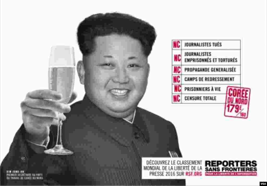"""کیم جونگ اون رهبر کره شمالی یکی دیگر از رهبران """"دشمن آزادی مطبوعات"""" است. کره شمالی در رتبه بندی گزارشگران بدون مرز، رتبه ۱۷۹ را دارد."""