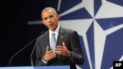 اوباما د شنبې په ورځ په وارسا کې د ناټو د مشرانو د غونډې وروسته خبرې کنفرانس ورکړ.