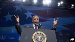 El presidente Obama habla ante la Asociación Nacional de Funcionarios Latinos Electos y Nombrados (NALEO por sus siglas en inglés) en Orlando, Florida.