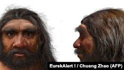 """考古學家新發現的現代人近親""""龍人""""的模擬復原圖。(法新社)"""