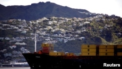 FILE - Houses can be seen on the hillside behind a container ship as it sails into Oriental Bay in the New Zealand capital city of Wellington, New Zealand, September 17, 2011. (REUTERS/David Gray/File Photo )