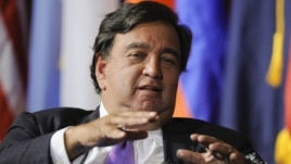 FILE - Former Governor of New Mexico Bill Richardson fields a question during a symposium at the University of Southern California, September 24, 2012.