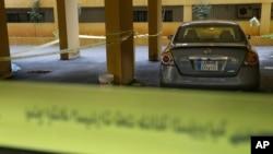 레바논 베이루트에서 4일 헤즈볼라의 알-라키스 사령관이 총격으로 사망한 현장.