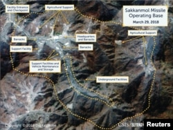 A Digital Globe satellite image taken March 29, 2018 shows what CSIS' Beyond Parallel project reports is an undeclared missile operating base at Sakkanmol, North Korea and provided to Reuters