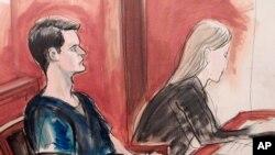 Dibujo de Ross Ulbricht durante su juicio en una corte de Nueva York. Ulbricht es fundador de Silk Road, un sitio web usado para transacciones ilegales.