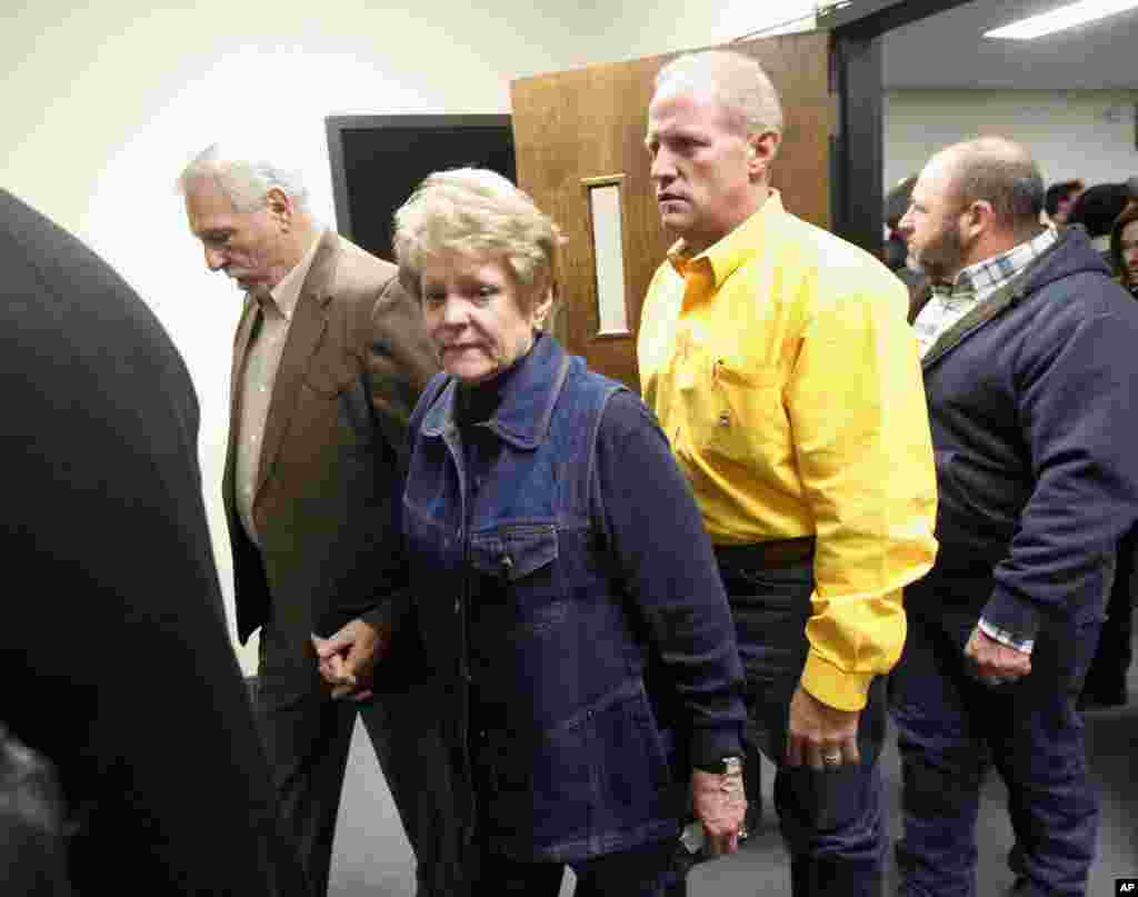 Don and Judy Littlefield, parents of Chad Littlefield, leave the courtroom after the capital murder trial of former Marine Cpl. Eddie Ray Routh at the Erath County, Donald R. Jones Justice Center in Stephenville, Texas, Feb. 24, 2015.
