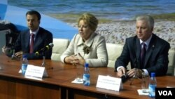 Аркадий Дворкович, Валентина Матвиенко и Вячеслав Наговицын