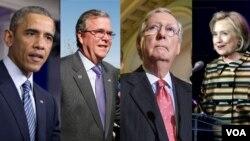 President Obama, former Florida Governor Jeb Bush, Senate Minority Leader Mitch McConnell and former Secretary of State Hillary Clinton