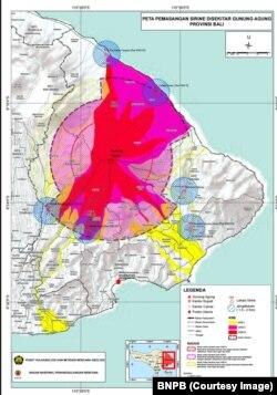 Peta pemasangan sirine di Karangasem, Bali