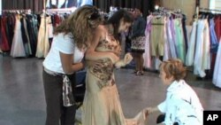 Choosing a dress for the Cinderella Ball which is held for middle and high school students with disabilities or life-threatening illnesses.