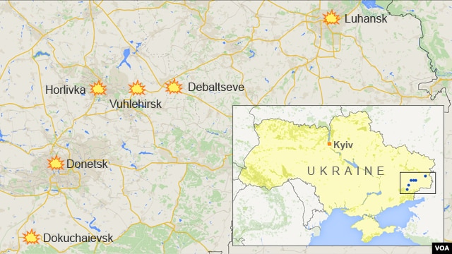 Map of Ukraine showing Donetsk, Luhansk, Debaltseve, Vuhlehirsk, Dokuchaievsk, and Horlivka