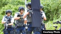 香港警察加紧演练反恐(苹果日报图片)