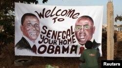 Picha za kwenye mabango za kumkaribisha Rais Obama nchini Senegal, June 24, 2013
